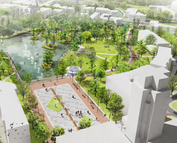 schets markt en centraal park